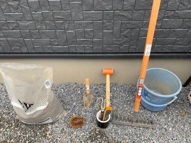 汚水枡のかさ上げに使った道具